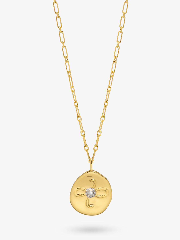 Lola Rose Lola Rose Curio Zircon Friendship Charm Coin Pendant Necklace, Gold