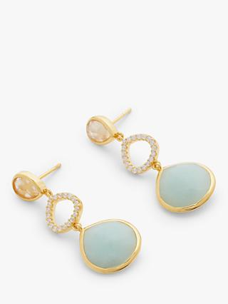 John Lewis & Partners Gemstones Triple Drop Earrings