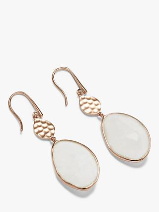 John Lewis & Partners Gemstones Hammered Disc and Stone Drop Earrings