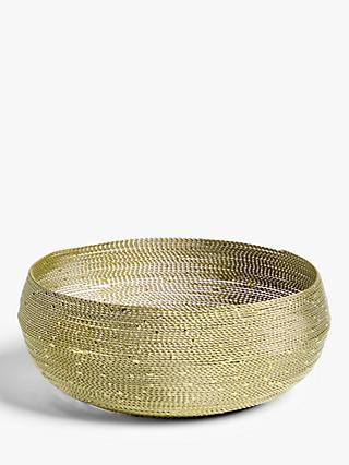 John Lewis & Partners Wire Round Bread Basket, 22.9cm, Gold