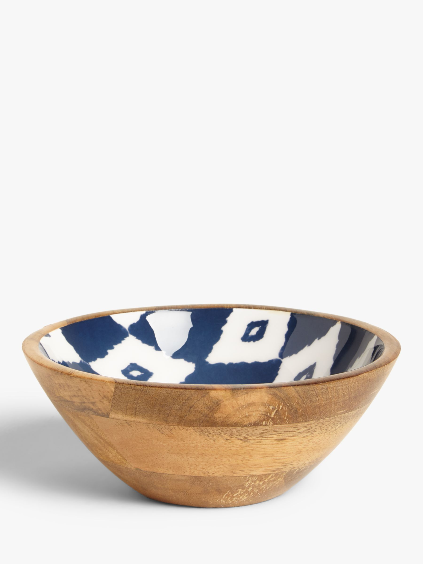 Buy John Lewis & Partners Fusion Small Mango Wood Bowl, 18cm, Natural/Blue Online at johnlewis.com