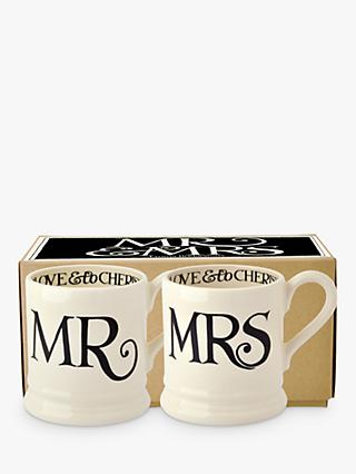 Emma Bridgewater Black Toast Mr & Mrs Mugs, Set of 2, 310ml, Black/White