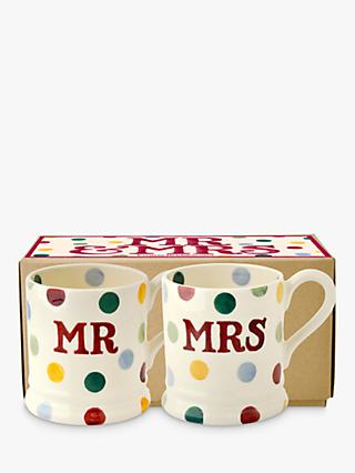 Emma Bridgewater Polka Dot Mr & Mrs Mugs, Set of 2, 310ml, Multi