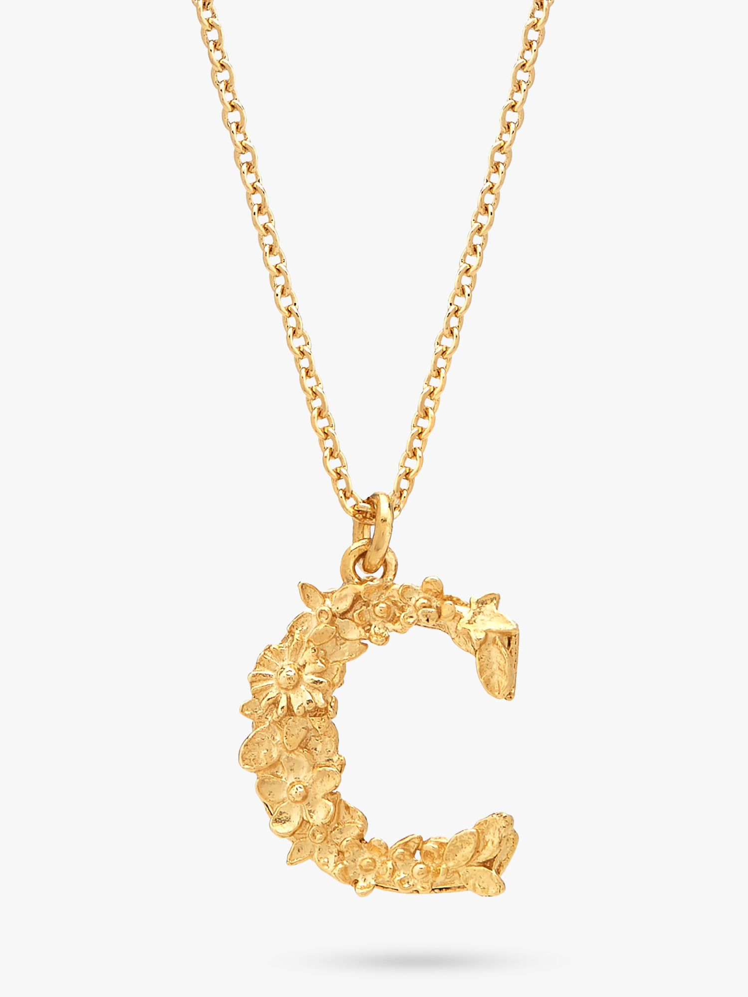 Alex Monroe Alex Monroe 22ct Gold Plated Sterling Silver Floral Letter Pendant Necklace