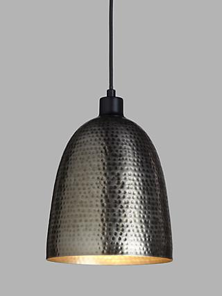 John Lewis & Partners Hammered Dome Easy-to-Fit Ceiling Shade, Pewter