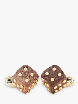 Paul Smith Wooden Dice Cufflinks, Brown/Gold