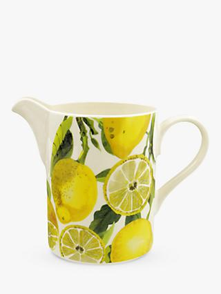 Emma Bridgewater Vegetable Garden Lemons & Cucumber Large Jug, 1.1L, Yellow/Multi