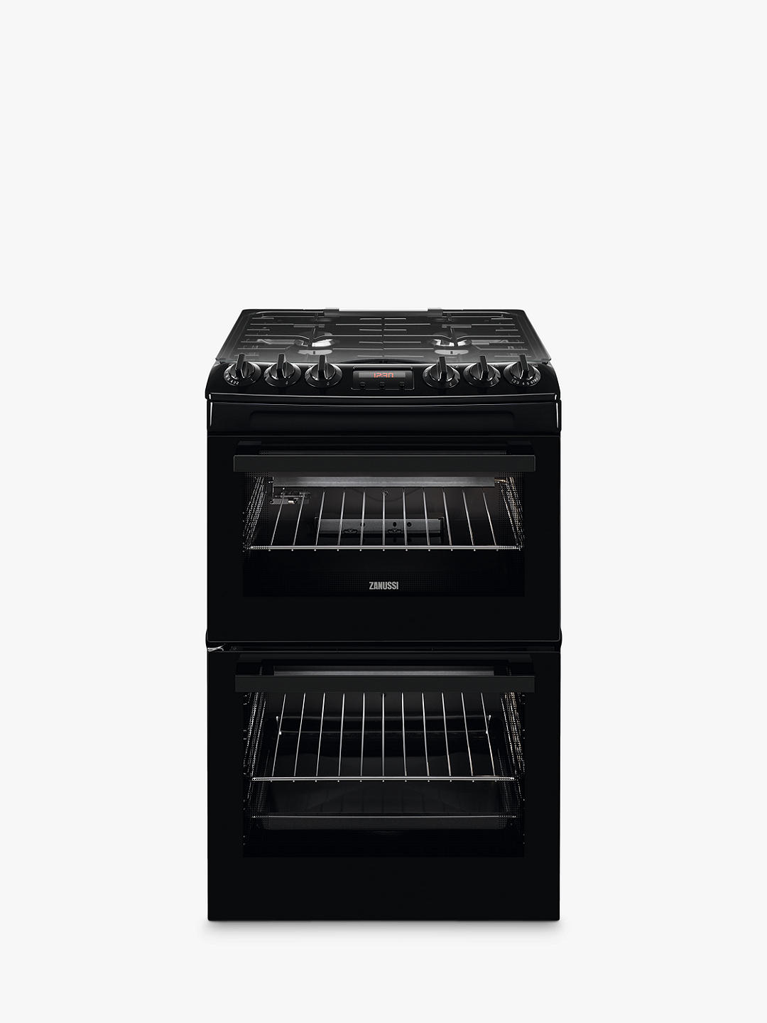 Buy Zanussi ZCG43250BA Freestanding Gas Cooker, A Energy Rating, Black Online at johnlewis.com