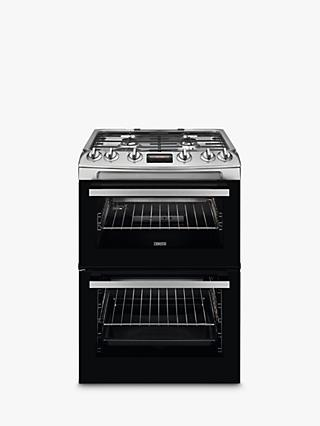 Zanussi ZCG63250XA Double Gas Cooker, A Energy Rating, Stainless Steel