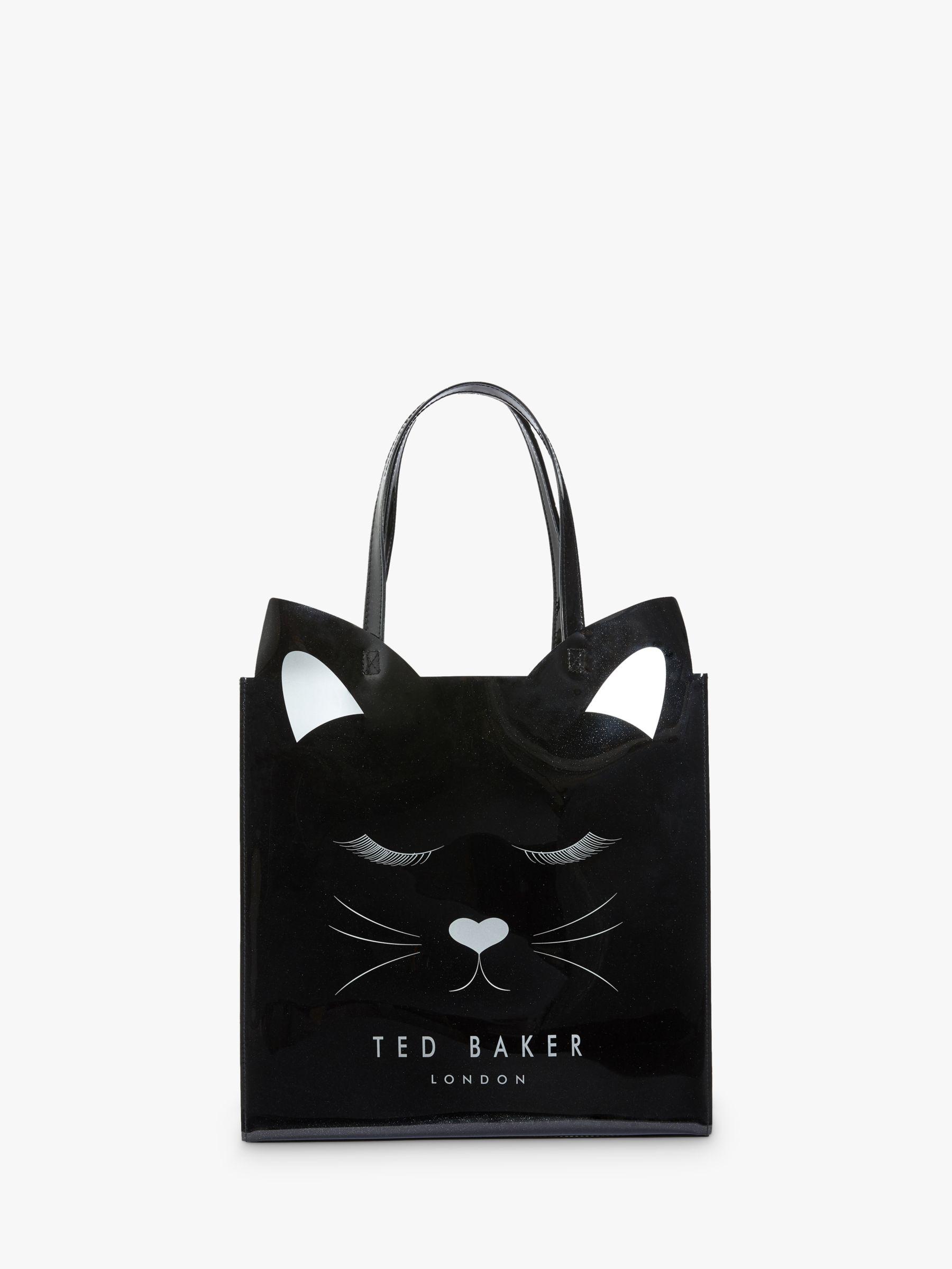 Ted Baker Meowcon Cat Large Icon Shopper Bag, Black at John