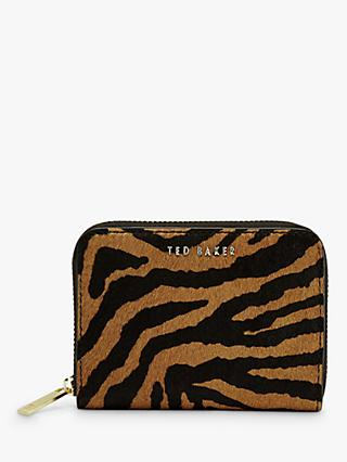 Ted Baker Crania Leather Exotic Print Zip Around Purse, Black