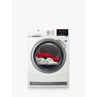 AEG 8000 Series T8DBG842R Heat Pump Tumble Dryer, 8kg Load, A++ Energy Rating, White