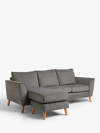 John Lewis & Partners Flare Chaise End Sofa, Light Leg, Grace Charcoal