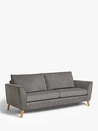 John Lewis & Partners Flare Large 3 Seater Sofa, Light Leg, Grace Charcoal