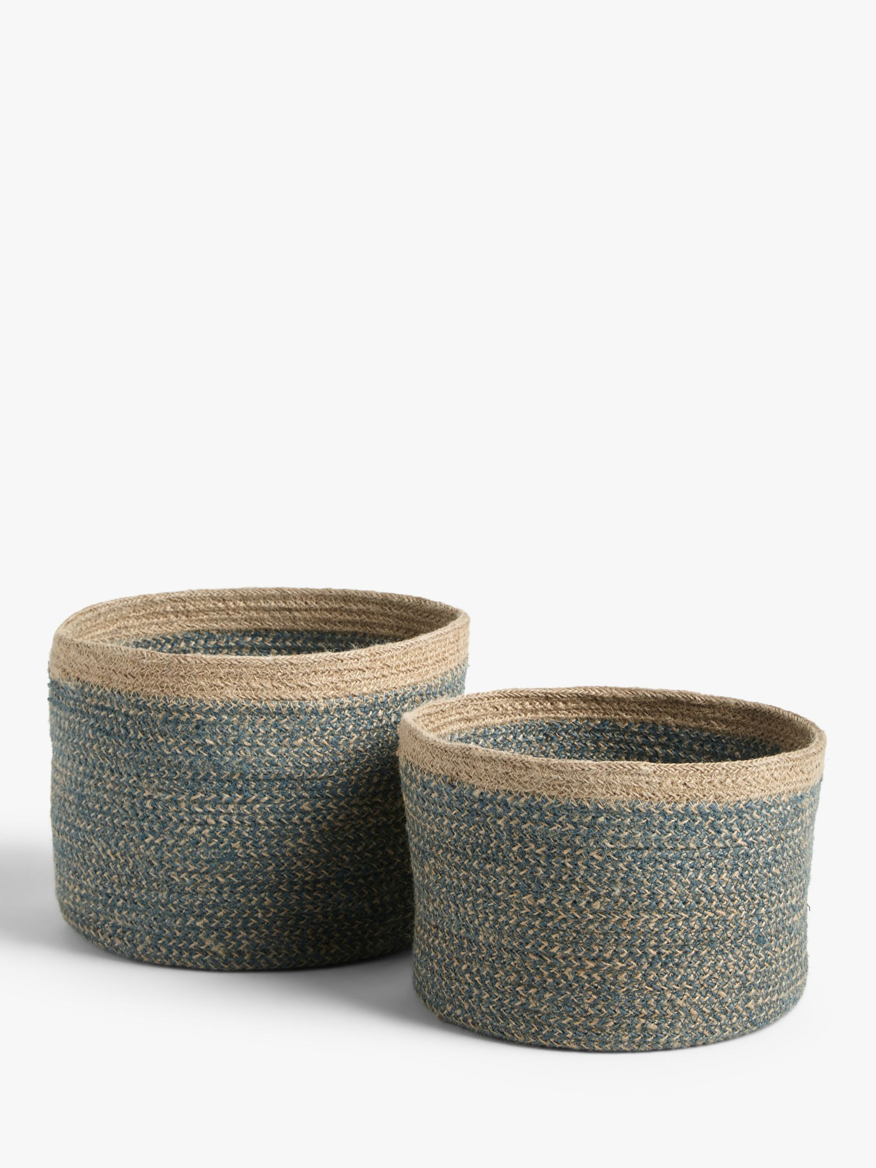 John Lewis & Partners Jute Basket, Set of 2, Blue