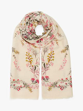 Modern Rarity Meadow Floral Wool and Silk Scarf, Cream Mix