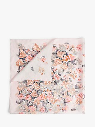 Modern Rarity Falling Sweetpea Square Silk Scarf, Blush Mix