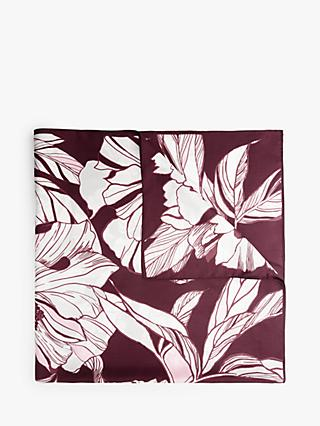 John Lewis & Partners Luna Linea Floral Square Silk Scarf, Burgundy/White