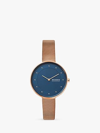 Skagen Women's Gitte SKW2811 Bracelet Mesh Strap Watch, Rose Gold/Blue