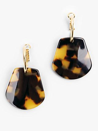 hush Mabel Tortoiseshell Drop Earrings, Gold/Brown