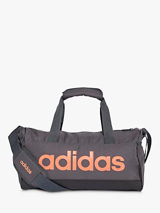 adidas Linear Core Duffel Bag, Extra Small, Grey Six/Black/Signal Coral