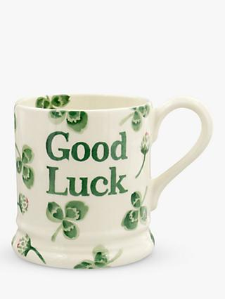 Emma Bridgewater Good Luck Clover Half Pint Mug, 280ml, Green/Multi