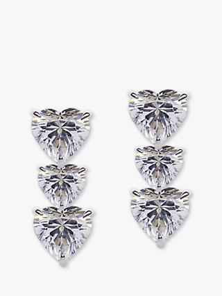 CARAT* London Triple Heart Drop Earrings, Silver