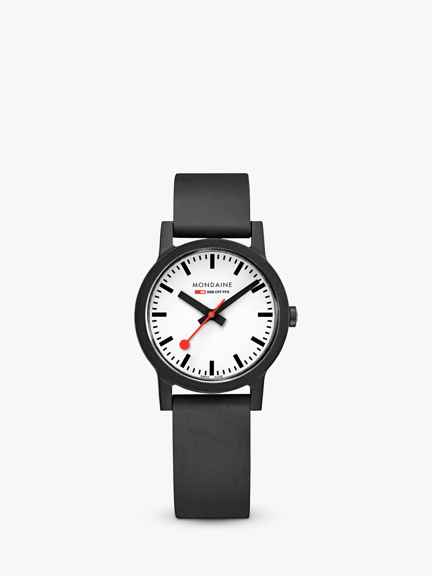 Mondaine Mondaine MS1.32110.RB Unisex Essence Rubber Strap Watch, Black/White