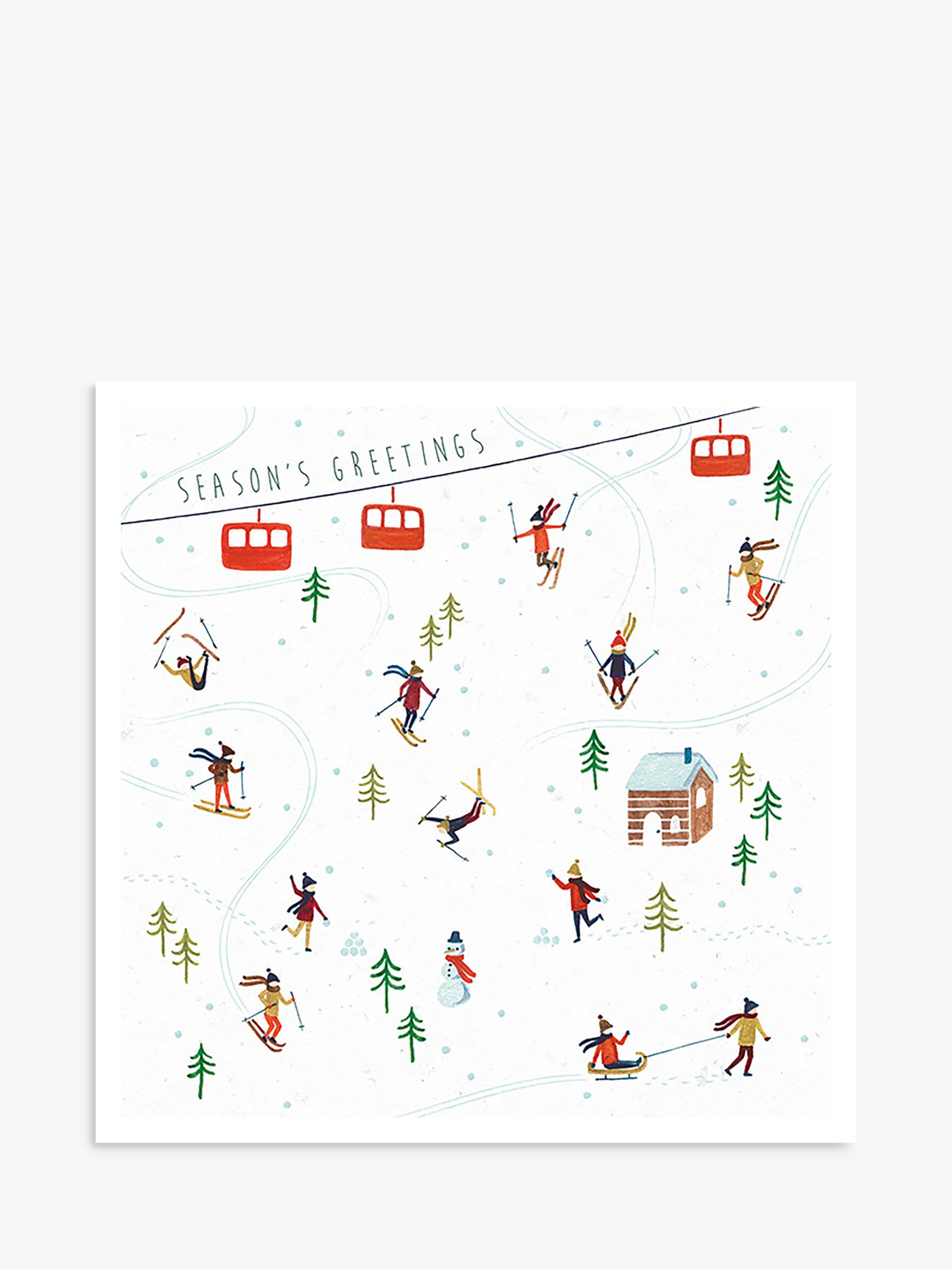 Art File Art File Season's Greetings Skiing Charity Christmas Cards, Pack of 6