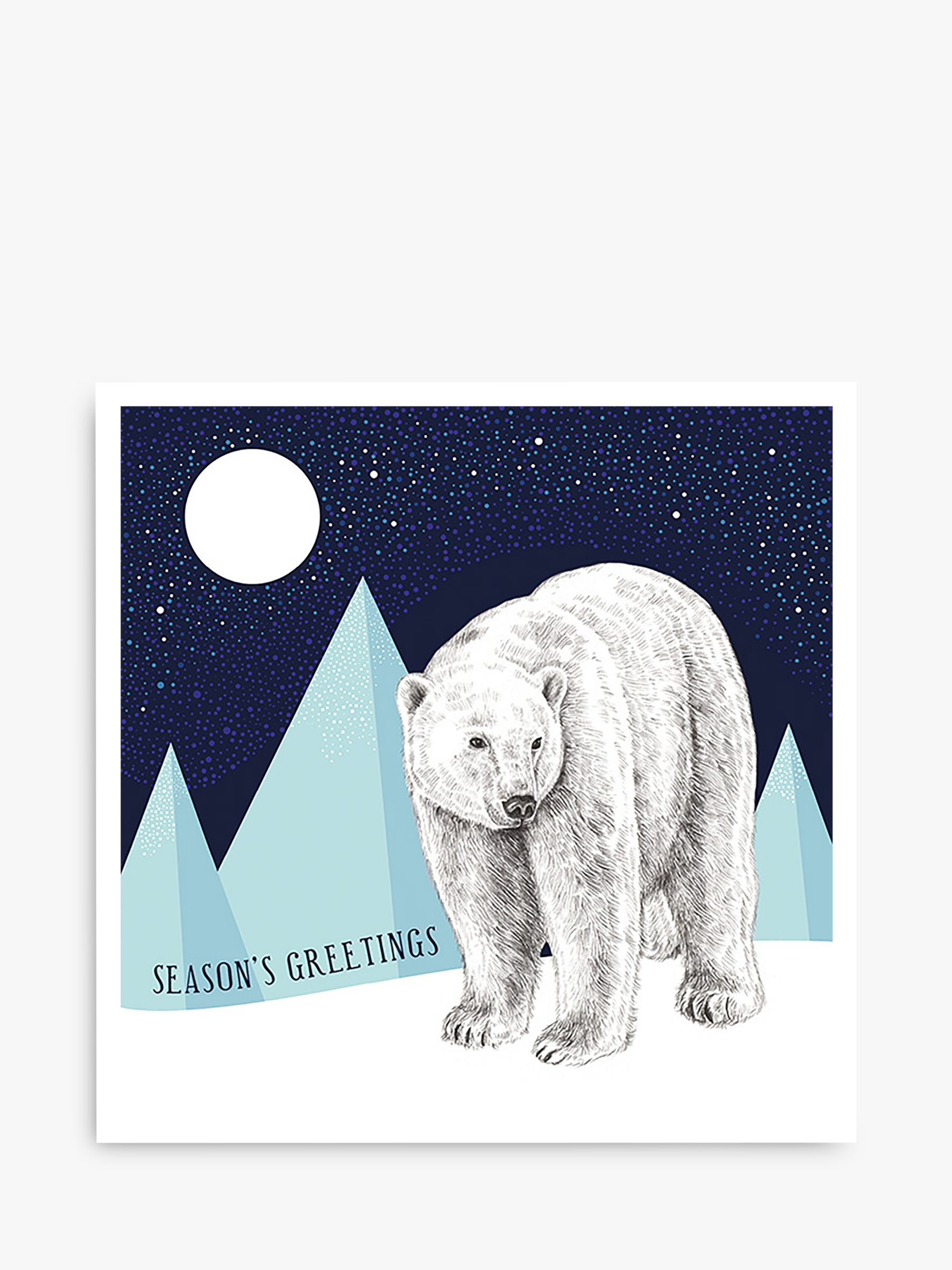 Art File Art File Polar Bear & Moon Charity Christmas Cards, Pack of 6