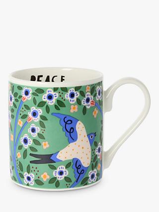 Monika Forsberg Swallows Mug, 300ml, Green/Multi