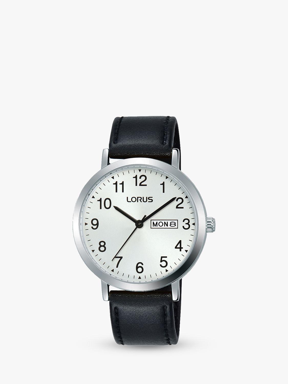 Lorus Lorus RH339AX9 Men's Day Date Leather Strap Watch, Black/White