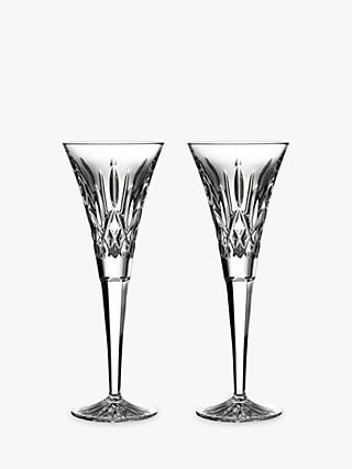 Waterford Crystal Cut Glass Lismore Toasting Flutes, 190ml, Set of 2, Clear