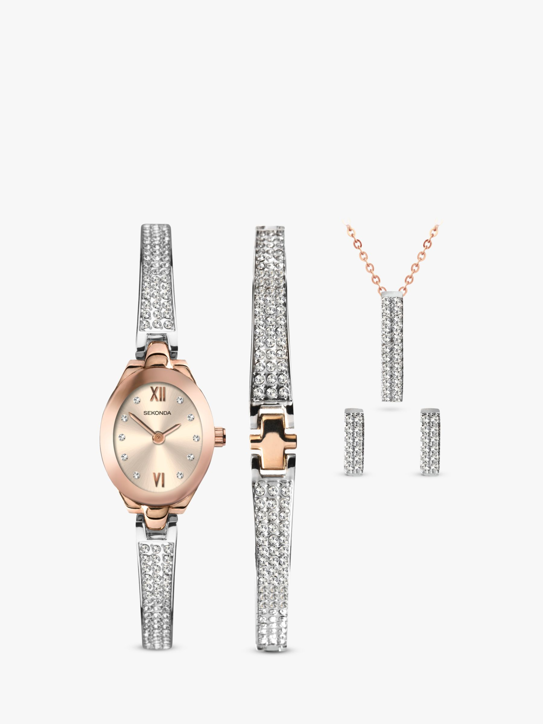 Sekonda Sekonda 2924G Women's Crystal Bracelet Strap Watch, Bracelet, Necklace and Stud Earrings Jewellery Gift Set, Silver/Rose Gold