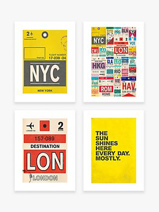 Nick Cranston - Travel Unframed Prints, Set of 4, 40 x 30cm, Assorted