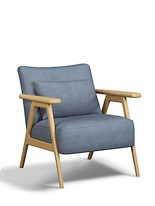 John Lewis & Partners Hendricks Leather Accent Chair, Light Wood Frame, Soft Touch Blue