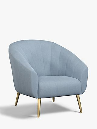 John Lewis & Partners Wave Fluted Armchair, Gold Finish Leg, Relaxed Linen Bluestone