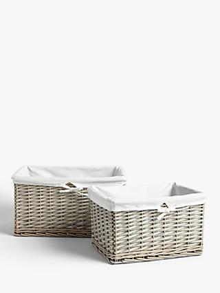 John Lewis & Partners Willow Lined Storage Baskets, Grey, Set of 2