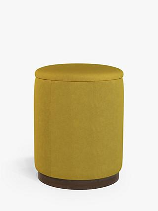 John Lewis & Partners Bobbin Tall Storage Footstool, Dark Wood Base, Saga Mustard