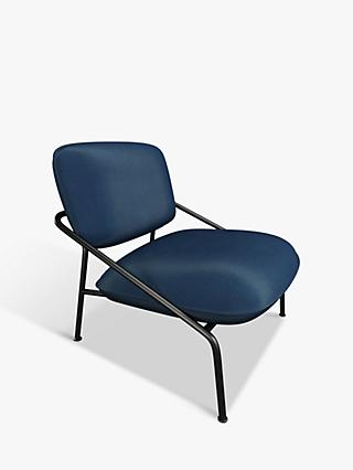 Slipper Range, John Lewis & Partners Slipper Lounge Chair, Black Metal Frame, Blue Velvet