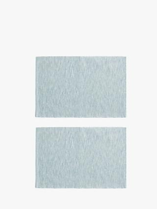 LEON Woven Cotton Placemats, Set of 2, Cool Grey