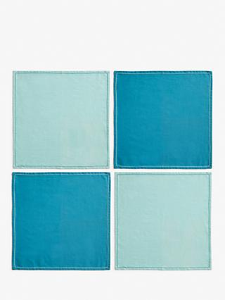 LEON Woven Cotton Napkins, Set of 4, Blue/Powder Blue