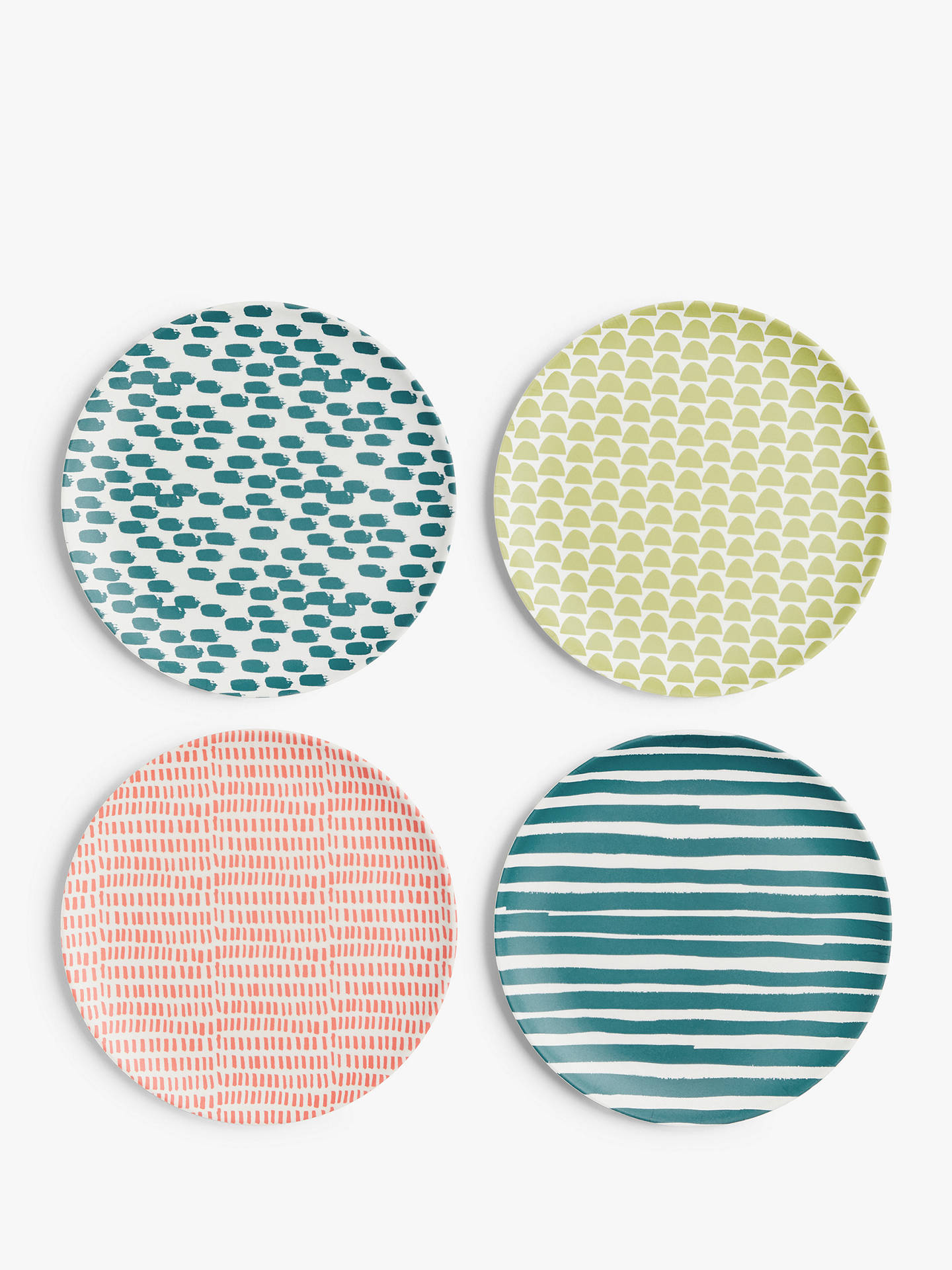 Buy John Lewis & Partners Bamboo Patterned Side Plates, Set of 4, 20cm, Assorted Online at johnlewis.com