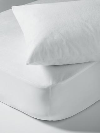 little home at John Lewis Waterproof Terry Towel Single Mattress Protector and Pillow Protector Set