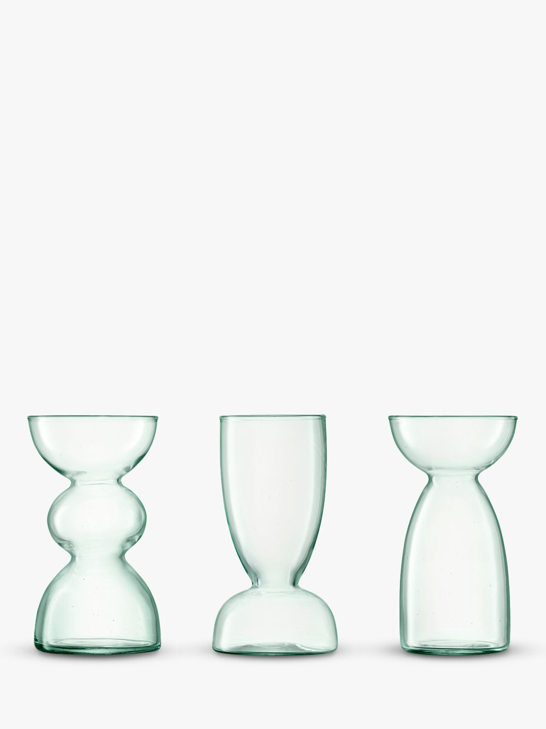LSA International LSA International Canopy Trio of Recycled Glass Vases, Set of 3, Clear