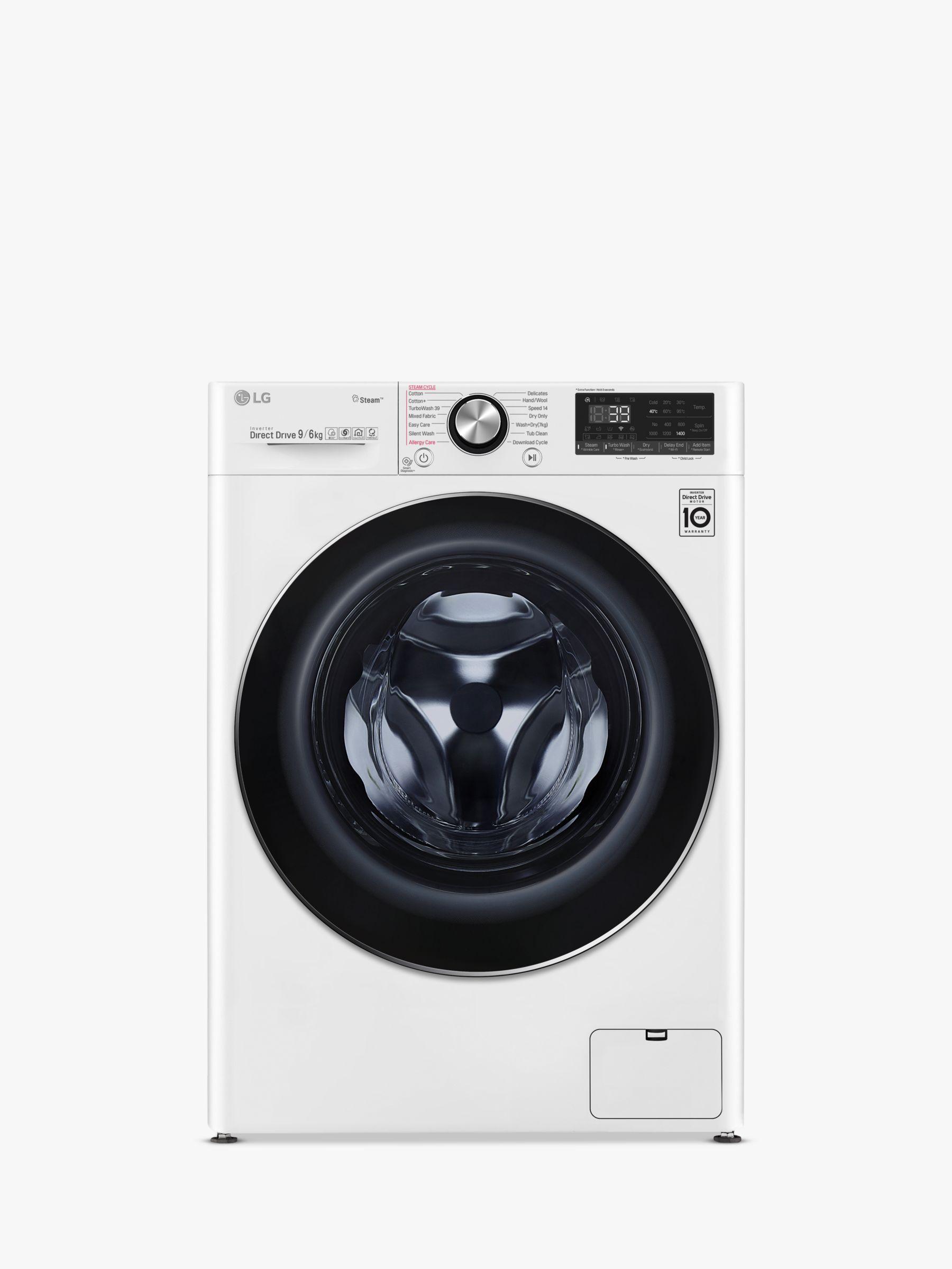 LG LG V900 FWV996WTS Freestanding Washer Dryer, 9kg Wash/6kg Dry Load, A Energy Rating, 1400rpm Spin, White