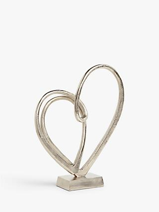 John Lewis & Partners Two Hearts Sculpture, Silver, H42cm