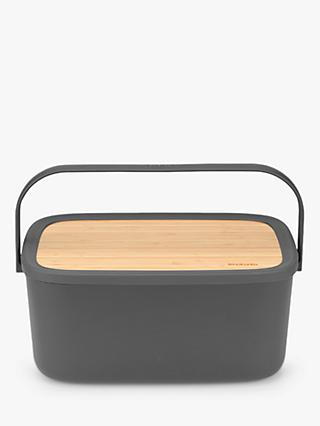 Brabantia Bamboo Lid Bread Bin & Board with Handle, Dark Grey