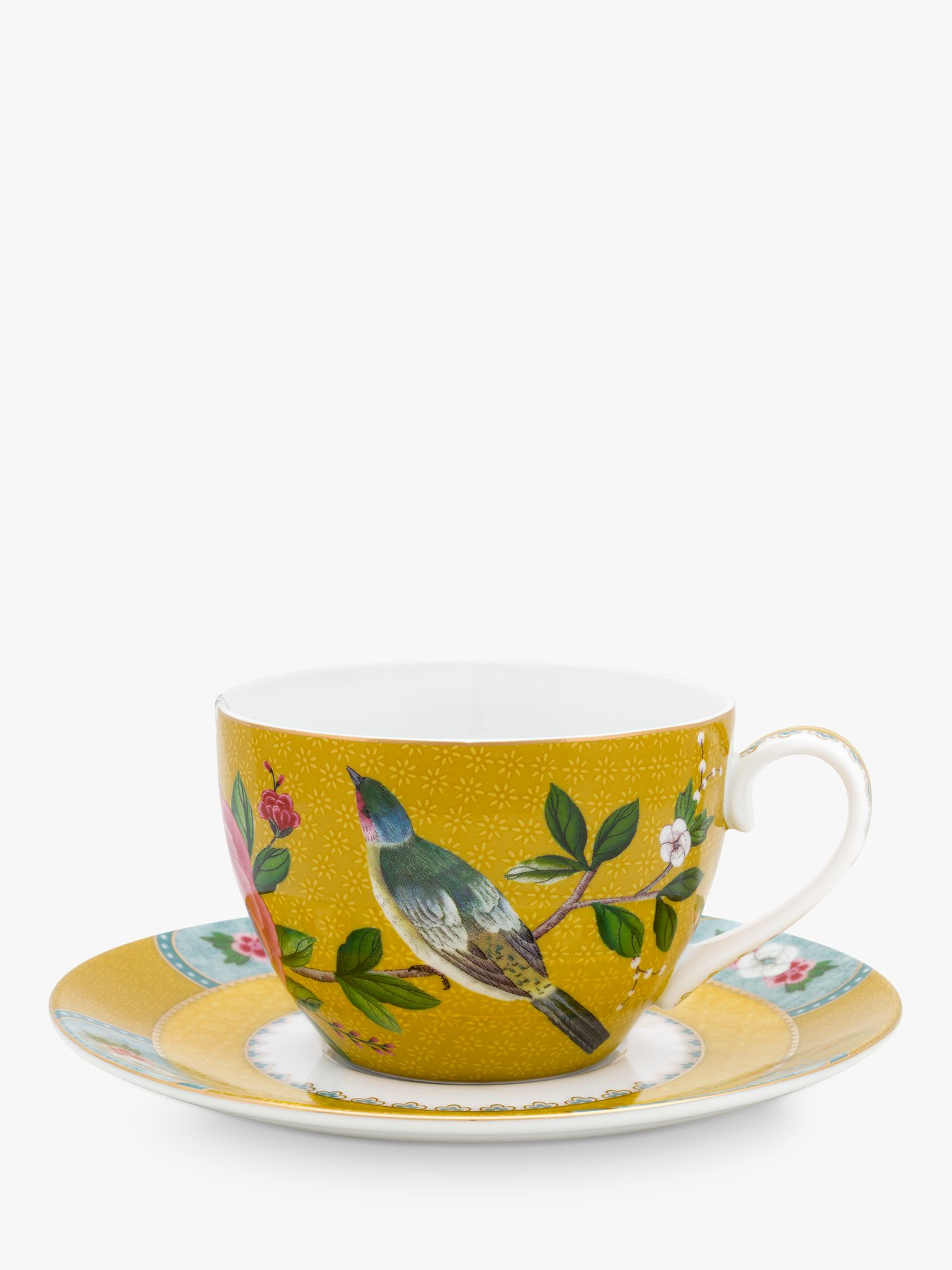 PiP Studio PiP Studio Blushing Birds Cup and Saucer, 280ml, Yellow
