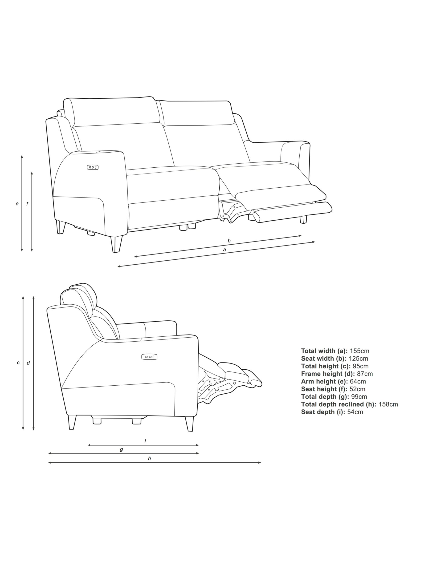 John Lewis & Partners Elevate Medium 2 Seater Power Recliner Sofa